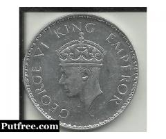 SILVER COIN OF RS.1.00 OF GEORGE VI KING OF 1940
