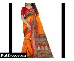 Orange Cotton Blend Saree With Blouse