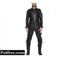 Men Leather Jumpsuit