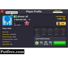 8 ball pool legendary/coins account in karachi