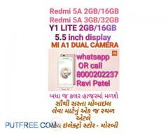 MI Redmi 5A 3GB/32GB AND Redmi Y1 Lite seal pack for sell at patel electro store morbi