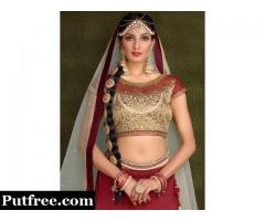 Maroon embroidered net unstitched ghagra choli at Mirraw